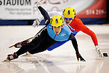 November 5, 2009 - Montreal, CAN - Apolo Anton Ohno (USA) skates to a first place finish during 500m heat race during ISU Short Track Speed Skating competition.