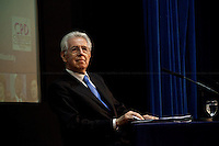 Mario Monti, Italian Prime Minister - 2012<br /> <br /> London, 18/01/2012. Today LSE (London School of Economics) presented a public lecture called &quot;The EU in the global economy: challenges for growth&quot; hosted by the Italian Prime Minister, Mario Monti. Chair of the event was Peter Sutherland (Irish international businessman, chairman of Goldman Sachs International and Chair of London School of Economics). Outside the LSE theatre stage of the public lecture protesters gathered to demonstrate against &quot;A bankers' Europe&quot;.