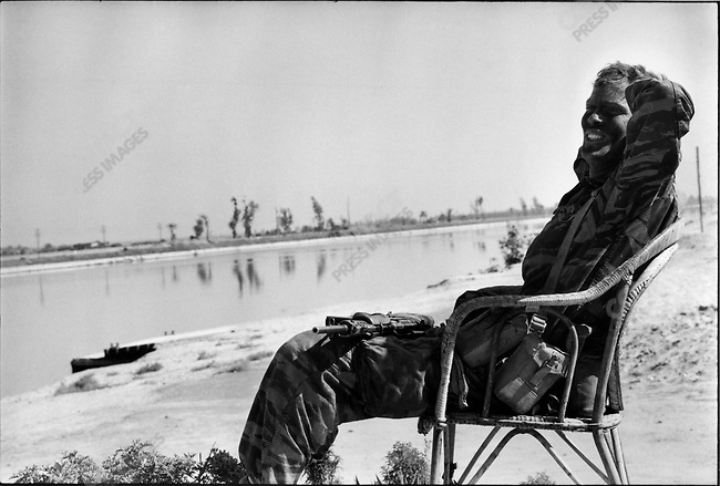 Israeli soldier by the Suez Canal after it was captured during the Six-Day War, Sinai Peninsula, Egypt, June 1967