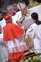 Cardinal Pierre Nguyen Van Nhon, archbishop of Hanoi, Vietnam, i.Pope Francis,during a consistory for the creation of new Cardinals at St. Peter's Basilica in Vatican.February 14, 2015