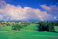 A rainbow over Kapalua Bay Golf Course; the first of three championship golf courses in Kapalua, this 6,600-yard par 72 course was designed by Arnold Palmer and Francis Duane.