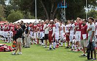 Stanford, CA - April15, 2017:  National Anthem at Cardinal and White Spring Game at Cagan Stadium.