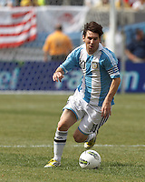 Argentina forward  Lionel Messi (10) dribbles. In an international friendly (Clash of Titans), Argentina defeated Brazil, 4-3, at MetLife Stadium on June 9, 2012.