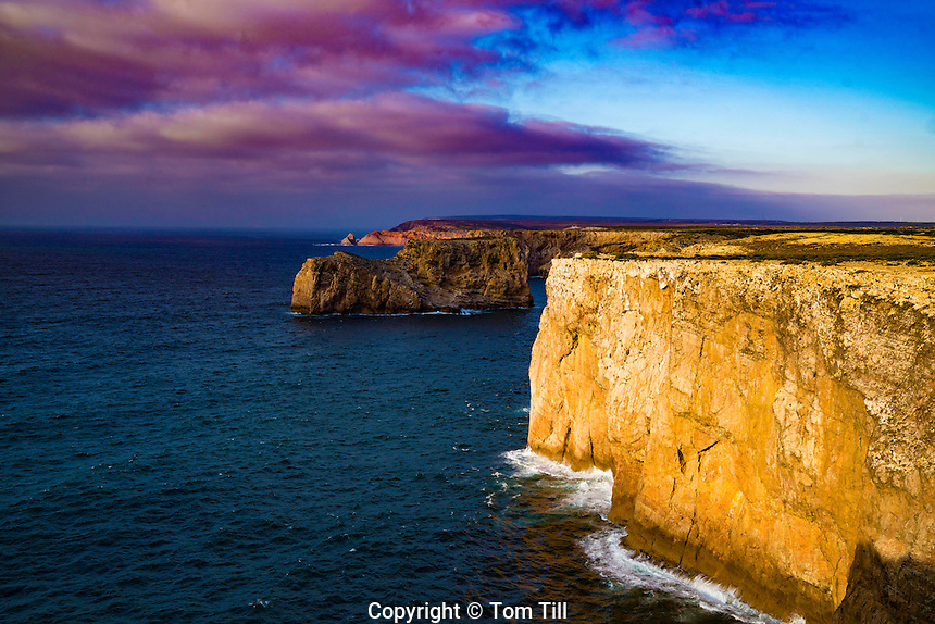 Cliffs at Cabo de Sao Vicente Lighthouse, Portugal Europe's Southwesternmost point, Rebuilt in 1846