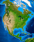 View of the Earth globe from space showing North American continent