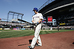 Seattle Mariners'  Willie Bloomquist walks to the on deck batters circle before batting against the Texas Rangers at SAFECO Field in Seattle on April 10, 2015.  The Mariners came from behind to beat the Rangers 11-10.  Jim Bryant Photo. ©2015. All Rights Reserved.