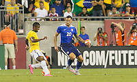 Foxborough, Massachusetts - September 8, 2015: First half action. In an international friendly match, USMNT (blue) vs Brazil (yellow/white), 1-0 (halftime), at Gillette Stadium.