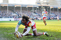 Marland Yarde of Harlequins touches the ball down over his own try-line. Aviva Premiership match, between Bath Rugby and Harlequins on February 18, 2017 at the Recreation Ground in Bath, England. Photo by: Patrick Khachfe / Onside Images