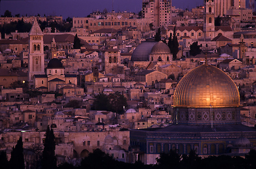 Scene of Jerusalem at sunset, where three religions meet.