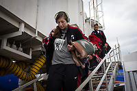 NASHVILLE, TN - The Stanford Cardinal arrives at their destination en route to Nashville, TN for the 2014 NCAA Final Four tournament at the Bridgestone Arena.