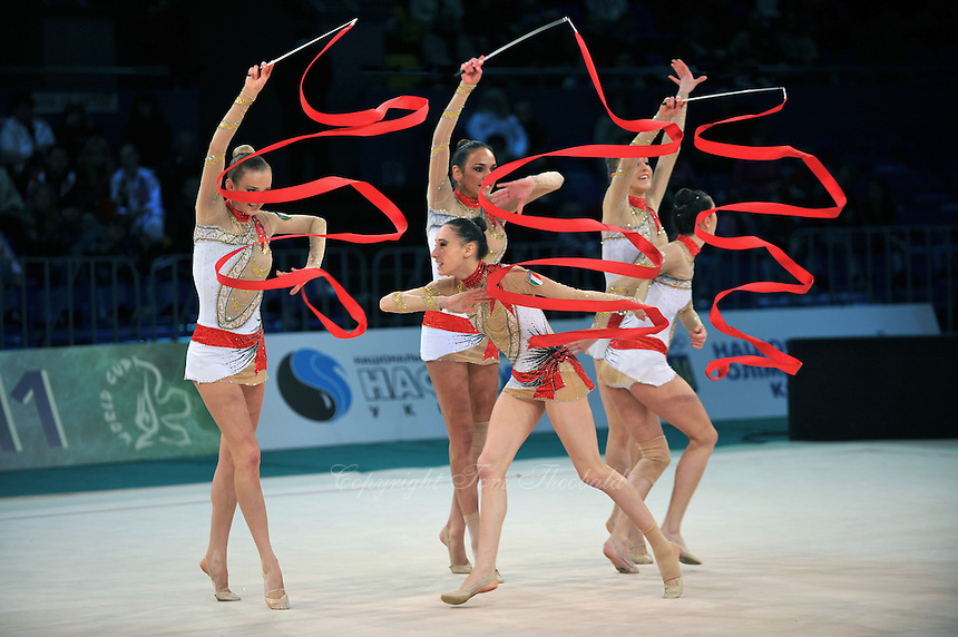 "Italian senior group performs at 2011 World Cup Kiev, ""Deriugina Cup"" in Kiev, Ukraine on May 7, 2011."