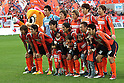 Omiya Ardija team group line-up, DECEMBER 3, 2011 - Football / Soccer : Omiya Ardija players (Top row - L to R) Takashi Kitano, Naoki Ishihara, Kota Ueda, Kim Young-Gwon, Takuya Aoki, (Bottom row - L to R) Daigo Watanabe, Keigo Higashi, Hayato Hashimoto, Arata Sugiyama, Yuki Fukaya and Kazuhiro Murakami pose for a team photo with the club mascot &quot;Miya&quot;(L) before the 2011 J.League Division 1 match between Omiya Ardija 3-1 Ventforet Kofu at NACK5 Stadium Omiya in Saitama, Japan. (Photo by Hiroyuki Sato/AFLO)