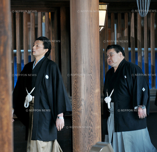 """Takanohana, Tokyo, Japan, January 6, 2012 : Oyakata (Coaches) of Takanohana Heya, Koji Takanohana (L) attends the """"ring entering ceremony"""" for dedication at Meiji Shrine  Tokyo, Japan, on January 6, 2012. (Photo by AFLO)"""