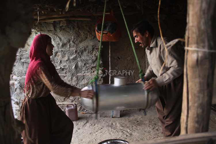 Shekh Khalid (44) lives with his wife Gawhar (42) and his youngest daughter Kaziwa, in Sarau a village 58km outside of Sulaimaniya,  In 1992 he lost his right leg when he stepped on a mine.  Even now, the area remains littered with mines which means the villagers still cannot move around freely.