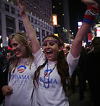 Supporters of President-elect Barack Obama on election day early Wednesday, Nov. 5, 2008  at Times square in New York. Photo by Eyal Warshavsky .