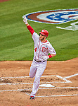 1 April 2013: Washington Nationals outfielder Bryce Harper crosses the plate after hitting his second solo home run during his second at-bat giving the Nationals a 2-0 lead in the Opening Day Game against the Miami Marlins at Nationals Park in Washington, DC. Harper was named Player of the Game as the Nationals defeated the Marlins 2-0 to launch the 2013 season. Mandatory Credit: Ed Wolfstein Photo *** RAW (NEF) Image File Available ***