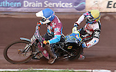 Heat 12: Robert Mear (blue) takes out Jason Doyle (yellow) - Lakeside Hammers vs Swindon Robins at the Arena Essex Raceway, Pufleet - 18/06/12 - MANDATORY CREDIT: Rob Newell/TGSPHOTO - Self billing applies where appropriate - 0845 094 6026 - contact@tgsphoto.co.uk - NO UNPAID USE..