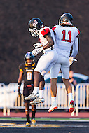 Baltimore, MD - SEPT 10, 2016: St. Francis (Pa) Red Flash wide receiver Kamron Lewis (11) and St. Francis (Pa) Red Flash wide receiver Junior Ajayi (3) celebrate a touchdown during game against Towson at Johnny Unitas Stadium in Baltimore, MD. The Tigers defeated St. Francis 35-28. (Photo by Phil Peters/Media Images International)