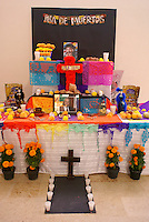 Decorated Mexican Day of the Dead or Dia de los Muertos altar, Mazatlan, Sinaloa, Mexico