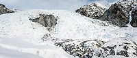 Main Icefall and crevasses on Franz Josef Glacier, Westland National Park, West Coast, World Heritage Area, South Westland, New Zealand