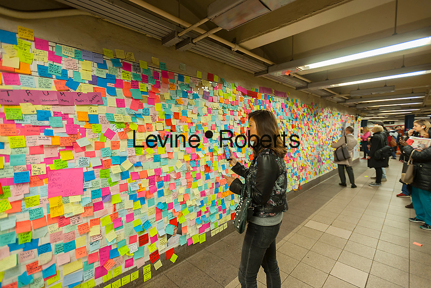 Thousands of travelers write their thoughts about the results of the presidential election on post-it notes in the Union Square subway station in New York, seen on Wednesday, November 16, 2016. Many wrote angry messages and some wrote messages of hope and some now felt they were not alone and part of a community. (© Richard B. Levine)