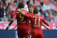 FUSSBALL   1. BUNDESLIGA  SAISON 2012/2013   3. Spieltag FC Bayern Muenchen - FSV Mainz 05     15.09.2012 Mario Mandzukic, Thomas Mueller und  Xherdan Shaqiri  (v. li., FC Bayern Muenchen)