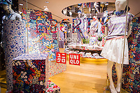 The Uniqlo store on Fifth Avenue in New York on Thursday, March 24, 2016 featuring the merchandise in the collaboration between Uniqlo and Liberty London, a company known mostly for its distinctive floral patterned fashions. (© Richard B. Levine)