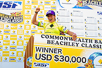 """DEE WHY, Sydney NSW/AUS (Saturday, April 21, 2012) Courtney Conlogue (USA) The Finals of the 2012 Commonwealth Bank Beachley Classic were completed today with Courtney Conlogue (USA) defeating Malia Manuel (HAW) for her first elite women's tour event win. Both finalist had never made it as far before in an ASP World Tour event. The surf was clean, with two-to-three foot (1.5 meter) waves on offer for the Top 17 female surfers in the world to battle for the richest prize purse on the ASP Womens World Championship Tour.. .Stop No. 4 of 7 on the 2012 ASP Womens World Championship Tour, the Commonwealth Bank Beachley Classic is run by seven-time ASP Womens World Champion Layne Beachley, and is in its seventh year.. .""""There are a lot of sevens in my life at the moment,"""" Beachley said. """"I'm so proud I've been able to run this event for seven years. I'm really appreciative of the Commonwealth Bank's support and am thrilled with the level of women's surfing. It's Finals day today. We've had a decrease in swell, but the girls are incredible at what they do and I'm sure they'll be able to put on a great show today. I'll be getting in the water later in the day for the celebrity challenge, and the Nikon Expression Session."""" .Manuel defeated Stephanie Gilmore (AUS) in the quarterfinals and Conlogue defeated Sally Fitzgibbons (AUS) also in the quarterfinals. Gilmore remains number one on the world tour ratings with Fitzgibbons in second place. Photo: joliphotos.com"""