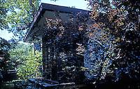 F.L. Wright: Davidson House, Buffalo. East side of house, huge bay window.  Photo '88.