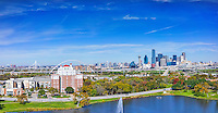 This is another angle from above  of the Dallas skyline from a city park over the water feature with the usual iconic  high rise buildings in downtown area.  In this panorama  you can see  the Bank of America, Fountain Place, Reunion Tower, Omni, Heritage Plaza. You can also see they are building the new bridge which is still a way from being completed along with the Margaret Hunt Hill Bridge in the distance.