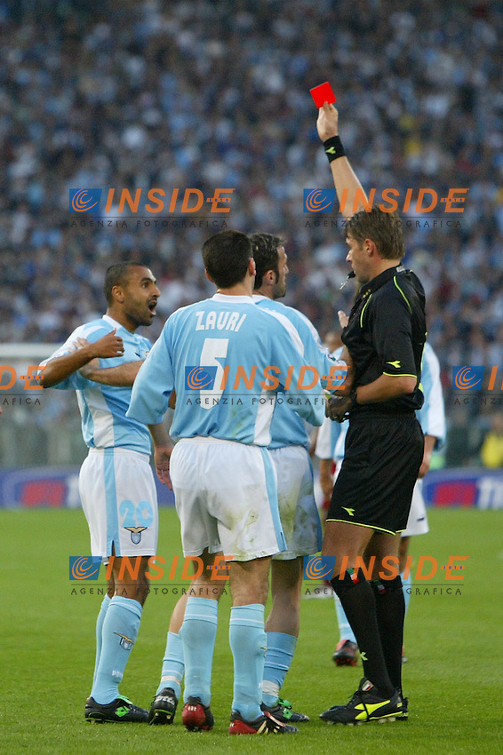 Roma 21/4/2004 Campionato Italiano Serie A <br /> Lazio - Roma 1-1 <br /> Fabio Liverani (Lazio) espulso dall'arbitro Rosetti <br /> Lazio and Roma are playing again after it was suspended on March 21, 2004, for security reasons.  <br /> Foto Andrea Staccioli Insidefoto