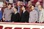 1949, 2008 and 2010 national champions: ?, Andrew Orpik, Nathan Gerbe, ?, Matt Price, Len Ceglarski, Matt Lombardi, ?, Mike Feeley - The Boston College Eagles defeated the visiting Northeastern University Huskies 3-0 after a banner-raising ceremony for BC's 2012 national championship on Saturday, October 20, 2012, at Kelley Rink in Conte Forum in Chestnut Hill, Massachusetts.