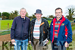 Enjoying the Castleisland Coursing Meeting in Cahill Park, Castleisland on Monday were Timmy Dee, Paddy Sheehan and Moss Kelly, Abbyfeale