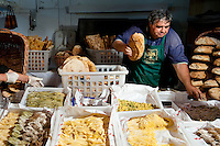 Fresh organic bread and pasta sold at Roma Farmer's Market, fresh produce sold directly to the public from local producers.  Every weekend at the old abattoir in Testaccio, Rome, italy