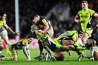 Dave Ward of Harlequins fends Mike Haley of Sale Sharks. Aviva Premiership match, between Harlequins and Sale Sharks on January 7, 2017 at the Twickenham Stoop in London, England. Photo by: Patrick Khachfe / JMP