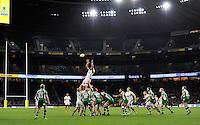 Nathan Hughes of Wasps rises high to win lineout ball. Aviva Premiership match, between London Irish and Wasps on November 28, 2015 at Twickenham Stadium in London, England. Photo by: Patrick Khachfe / JMP