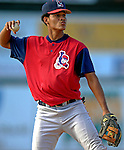 30 June 2007: Lowell Spinners infielder Pedro Vasquez warms up at third base prior to a game against the Vermont Lake Monsters at Historic Centennial Field in Burlington, Vermont. The Spinners defeated the Lake Monsters 8-4 in the last game of their 3-game, NY Penn-League series...Mandatory Photo Credit: Ed Wolfstein Photo