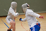 June 2015, Berlin. In preparation for the European Maccabi Games being held for the first time in Germany from July 27th to August 5th 2015 – in Berlin's Olympic Sports Park, where Jewish athletes were banned from the Olympic games in 1936 under the Nazi regime – Ruslan Satschkow, a fencer who competes in the Games for the German Teams, practises with his fellow fencers Alexander Medowoi (in black shorts) and Konstantin Boyko (in blue shorts) along with their trainer Alexander Bondar (big guy with black shorts) in his respective sport in Rostock. More than 2000 Jewish athletes from 36 countries will participate in the European Maccabi Games.