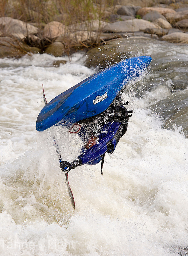 Scott playboating in his new Jackson Rockstar at the whitewater park in the Truckee River