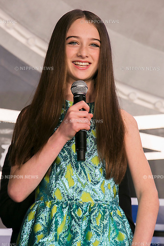 British child actress Raffey Cassidy speaks during the Japan premiere for the film ''Tomorrowland'' in Roppongi Hills Arena on May 25, 2015, Tokyo, Japan. George Clooney visited Japan for the first time in eight years with his wife Amal. The movie hits the theaters across Japan on June 6th. (Photo by Rodrigo Reyes Marin/Walt Disney Studio Japan/AFLO)