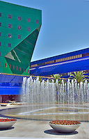 Pacific, Design, Center, West, Hollywood, CA, Blue, Whale, Green, and, Blue, Buildings, Fountains, on, Clear Sunny Day, Digitally enhanced (I like this Version)