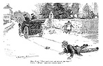 "Motor fiend. ""Why don't you get out of the way?"" Victim. ""WHAT! Are you coming back?"" (an early motoring cartoon in a village showing a man who has been run over by a car)"