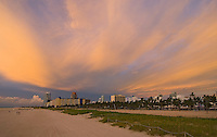 Florida, Miami Beach, sunrise with clouds