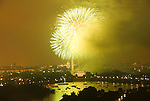 Washington DC; USA: July 4 Fireworks and icons, as seen from Arlington VA venue, Top of the Town.Photo copyright Lee Foster Photo # 16-washdc82892