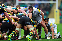 Nathan Catt of Bath Rugby prepares to scrummage against his opposite number. Aviva Premiership match, between Northampton Saints and Bath Rugby on September 3, 2016 at Franklin's Gardens in Northampton, England. Photo by: Patrick Khachfe / Onside Images