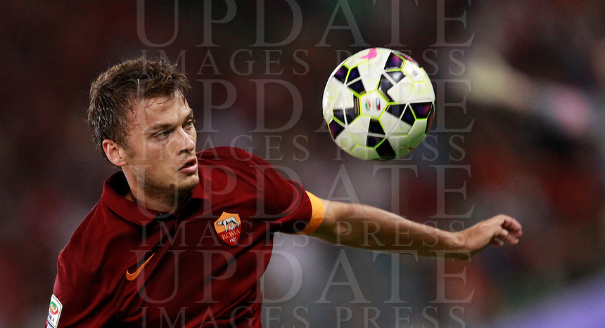 Calcio, amichevole Roma vs Fenerbahce. Roma, stadio Olimpico, 19 agosto 2014.<br /> Roma forward Adem Ljajic, of Serbia, eyes the ball during the friendly match between AS Roma and Fenerbahce at Rome's Olympic stadium, 19 August 2014.<br /> UPDATE IMAGES PRESS/Isabella Bonotto