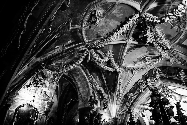 Human Bones and skulls at the Charnel House or Ossuary Kostnice ( Bone Chapel ) in Kutna Hora Czech Republic
