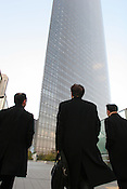Dentsu Tower, of Dentsu advertising company, designed by Jean Nouvel, in the Shiodome district, Tokyo, Japan, on Monday, Feb. 19, 2007.