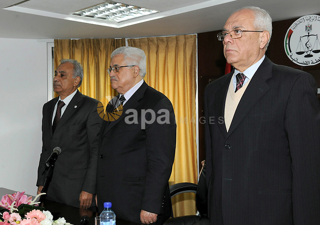 Palestinian President, Mahmoud Abbas (Abu Mazen), during the open the Centre for Judicial Studies in the West bank City of Al- Bira. Photo by Thaer Ganaim