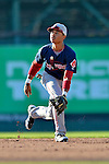30 June 2012: Lowell Spinners infielder Mookie Betts in action against the Vermont Lake Monsters at Centennial Field in Burlington, Vermont. Mandatory Credit: Ed Wolfstein Photo